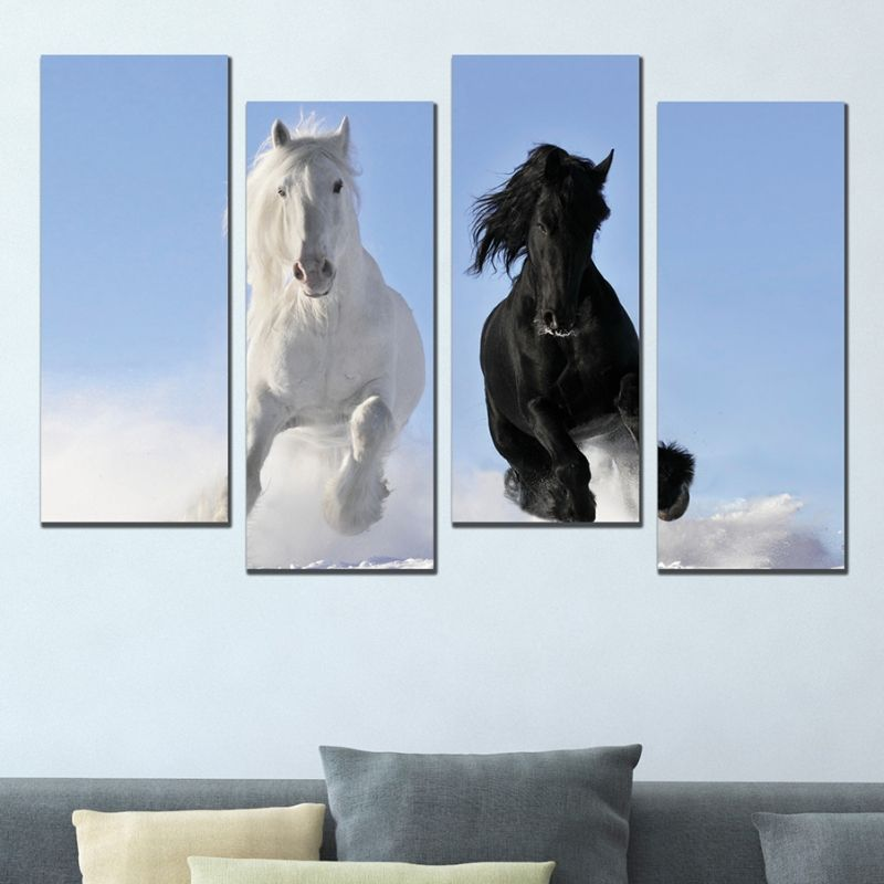 0632 Wall Art Decoration Set Of 4 Pieces Black And White Horse