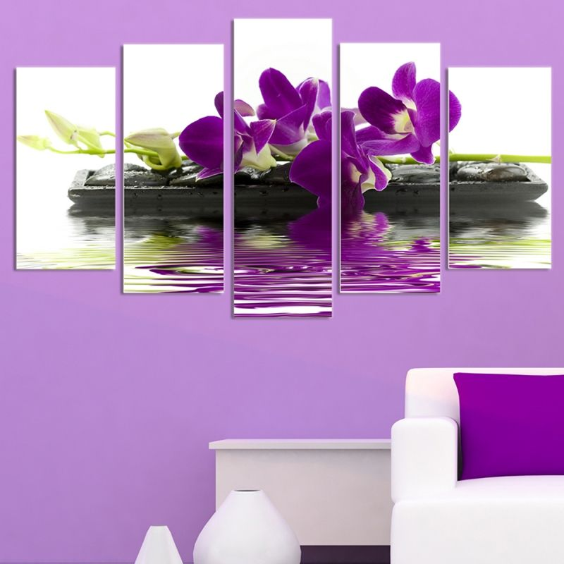 Spa wall decoration. Wall art set of 5 parts Purple orchid