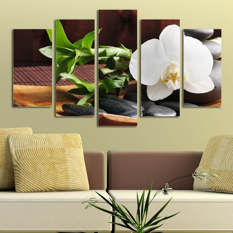 Canvas or pvc wall art decoration with orchids for Spa wall decor