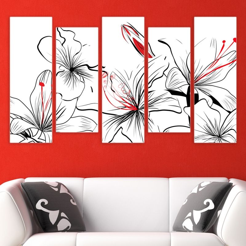 Online Floral Painting Of 5 Parts In White Black And Red