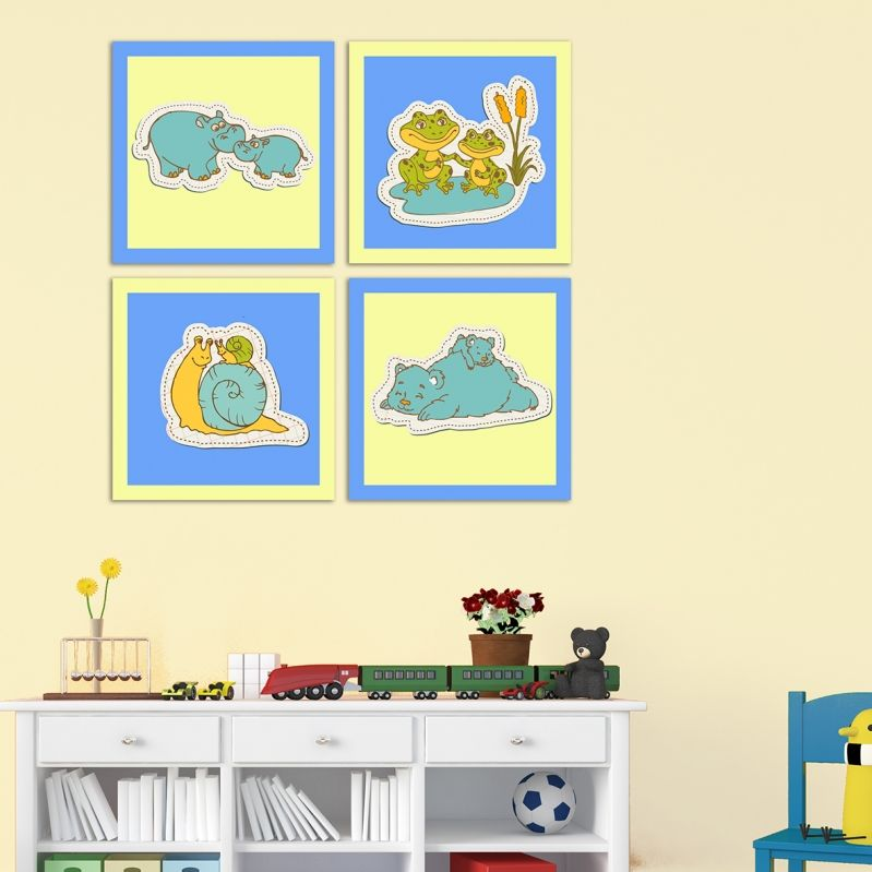Kids wall art decoration in blue and yellow with sweet animals