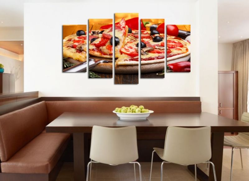 Decorations for restaurants wall art decoration set of 5 pieces pizza - Restaurant wall decor ideas ...