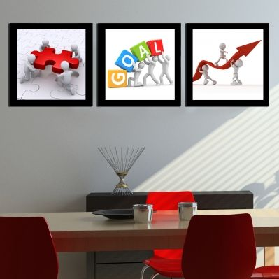 0236 Wall art decoration (set of 3 pieces) Team work