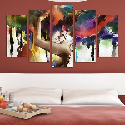 0241 Wall art decoration (set of 5 pieces) Love Hug