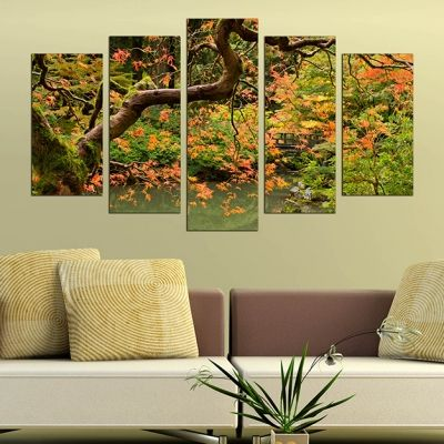 0244 Wall art decoration (set of 5 pieces) Beautiful tree