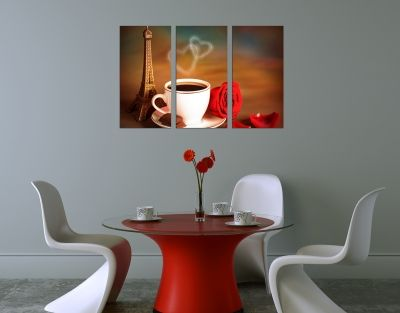 Wall art decoration hearts and coffee