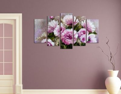 Wall art decoration purple flowers