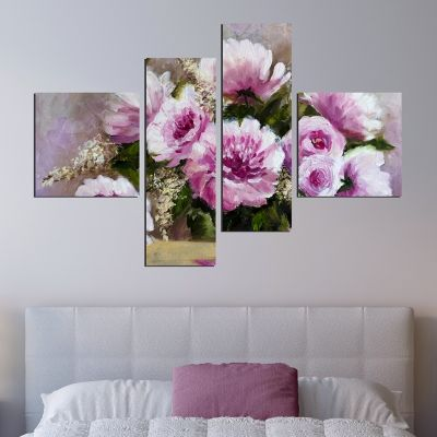0258_2 Wall art decoration (set of 4 pieces) Purple flowers
