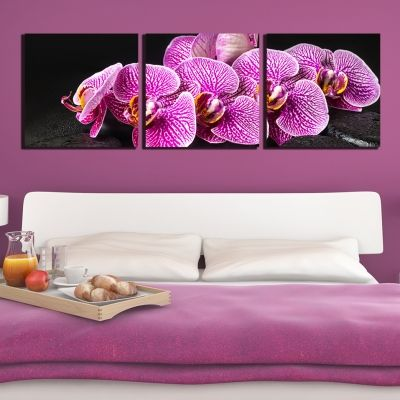 0260 Wall art decoration (set of 3 pieces) Purple orchids