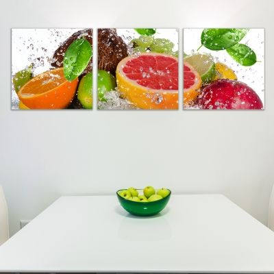 0263 Wall art decoration (set of 3 pieces) Fresh fruits
