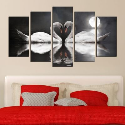 0264  Wall art decoration (set of 5 pieces) Swans