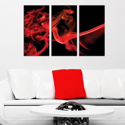 0268 AbstractWall art decoration (set of 3 pieces) Black and red
