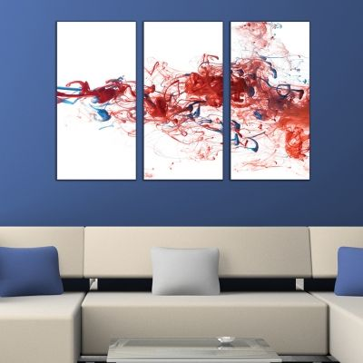 0269 AbstractWall art decoration (set of 3 pieces) White, red and blue