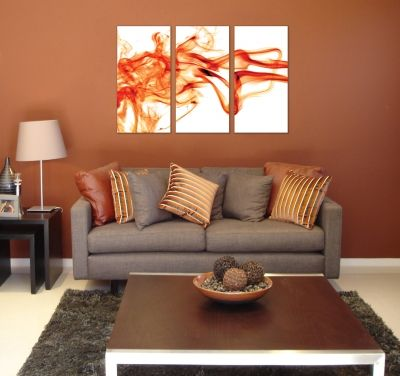 Wall art decoration abstract orange smoke