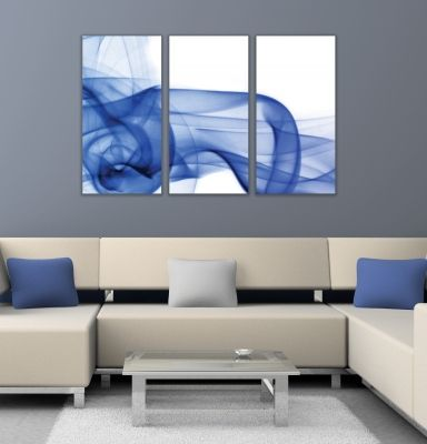 Wall art decoration abstract blue smoke