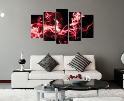 Abstract wall art in black nad red