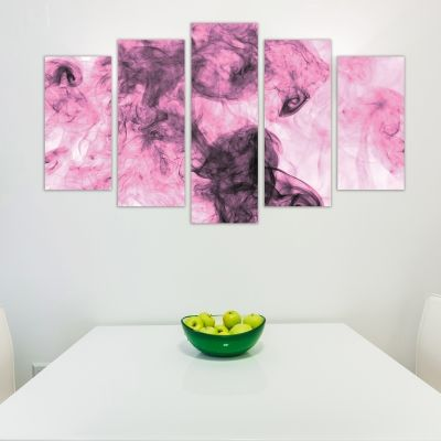 0278 Abstract wall art decoration (set of 5 pieces) Pink smoke