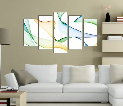 Abstract wall art decoration with color wavese