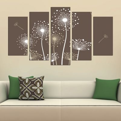 0282 Wall art decoration (set of 5 pieces) Dandelions