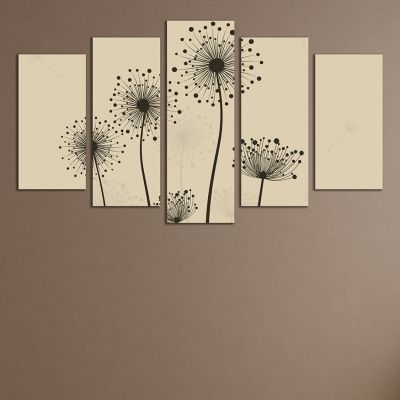 0282_2 Wall art decoration (set of 5 pieces) Dandelions