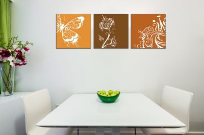 Wall art decoration set with florals in orange and brown