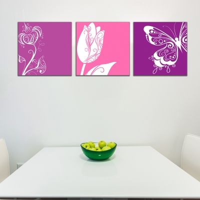 set of 3 floral wall art decorations