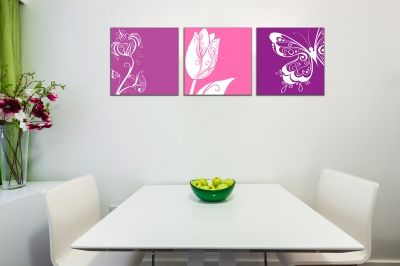 Wall art decoration set with florals in purple and pink