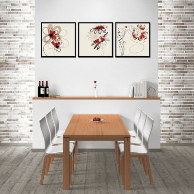 Wall art decoration set with florals in beige and red