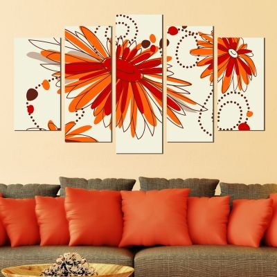 0287 Wall art decoration (set of 5 pieces) Orange flowers