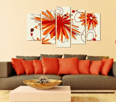 Floral canvas wall art in orange