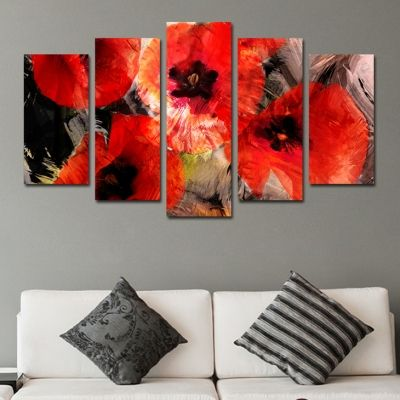 0291 Wall art decoration (set of 5 pieces) Abstract red flowers
