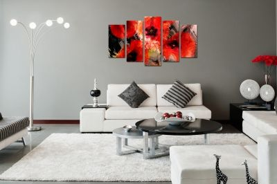 Abstract canvas wall art in red