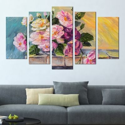 0294 Wall art decoration (set of 5 pieces) Roses