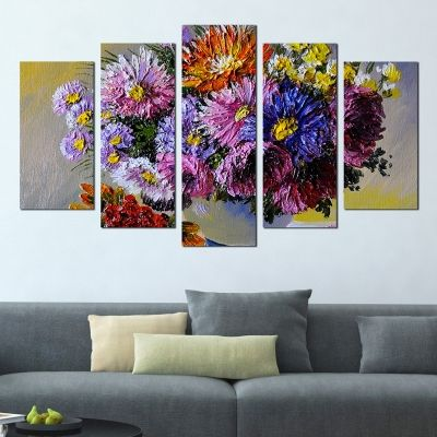 0295 Wall art decoration (set of 5 pieces) Flowers in a vase