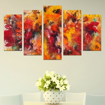0297 Wall art decoration (set of 5 pieces) Abstract flowers