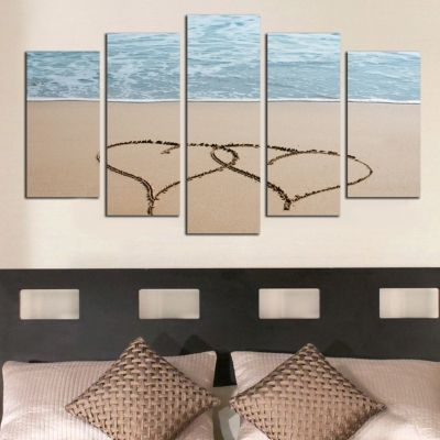 0305 Wall art decoration (set of 5 pieces)  Hearts in the sand