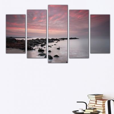 0306 Wall art decoration (set of 5 pieces)  Sea sunset