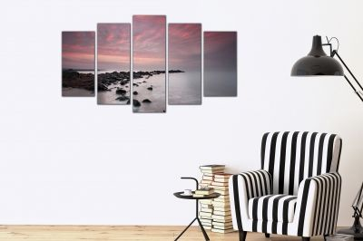 Canvas art set of 5 pieses for living room Sea sunset