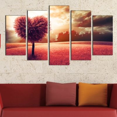 0314 Wall art decoration (set of 5 pieces) Love tree