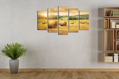 Canvas wall art with field and sunset