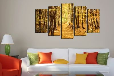 Canvas wall art with autumn forest path