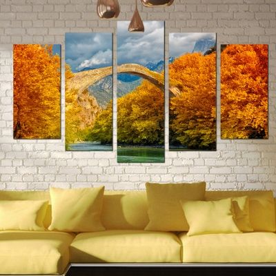 0320 Wall art decoration (set of 5 pieces) Colorful landcape with bridge