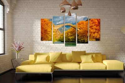 Canvas wall art with landscape with bridge