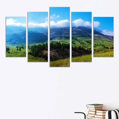 0321 Wall art decoration (set of 5 pieces) Beautiful mountain
