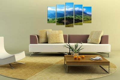 Wall art decoration (set of 5 pieces) Colorful landcape with bridge