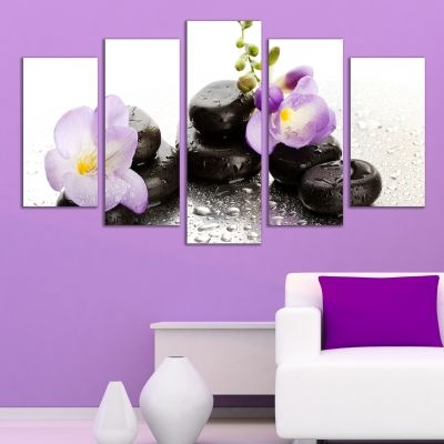 035 Wall art decoration (set of 5 pieces) Stones and orchids