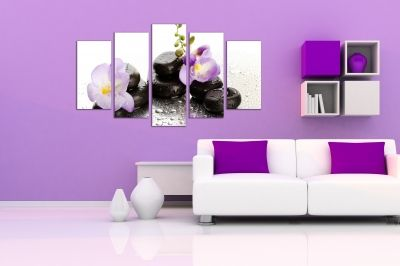 wall panels in purple and black
