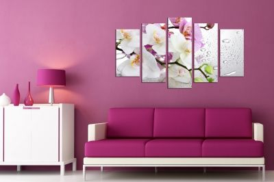 wall panels in purple and white