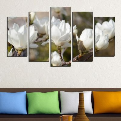 0327 Wall art decoration (set of 5 pieces) White magnolia