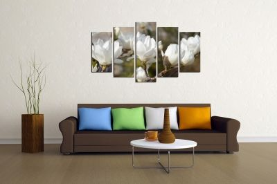 Canvas wall art set for living room with flowers